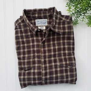 Lucky Brand Olive Green Brown Flannel Button Up Sm